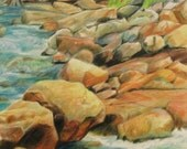 Rocky river wedding card, colored pencil, picnic area, rapid water, camping, fishing, stream, river, boulders, trout, hiking, sympathy card