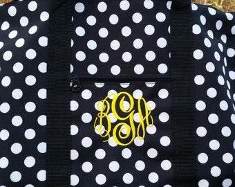 Monogrammed Black & White Overnight Weekender Bag Tote