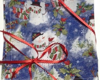 "Sale, Christmas Napkins, Cloth Napkins, Snowman Napkins, Kids Lunch Napkins, Lunchbox Napkins, Wedding Napkins, Set of 4, 16""x 16"" (N113)"
