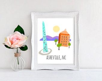 "Asheville Print, Downtown Asheville North Carolina - Wall Print - 8""x10"""