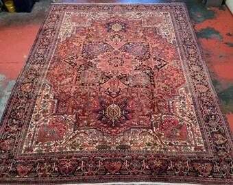 "Antique Persian Heriz Rug 10'6"" x 13'5"" Delightful Colors - Top Condition!"
