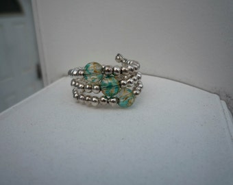 Three-layered blue and Silver Beaded Memory Wire Ring