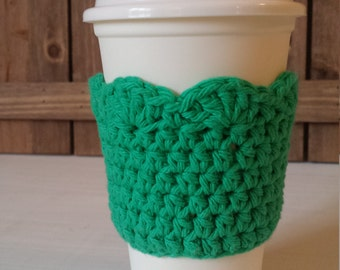 Crochet Coffee Sleeve with Scallop Edge / 100% Cotton / Crochet Gifts / Cotton Gifts - Green