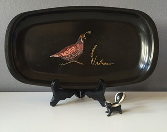 Vintage Mid Century Modern Couroc of Monterey Quail Tray