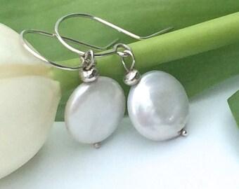 Silver Coin Pearl Earrings with Sterling Silver Hooks - Handmade Drop Earrings