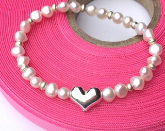 Stretch Pearl Silver Bracelet with Silver Heart and Heishi Beads, Handmade