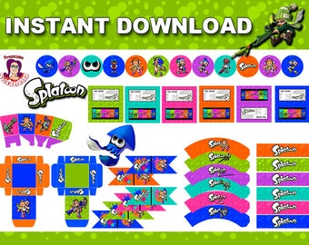 SPLATOON  Party Kit Printable in English. Instant download! Splatoon Birthday Decoration, Splatoon Party, Splatoon Birthday Banner
