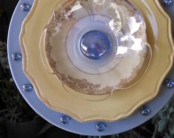 Glass Flower/Plate Flower Yard Art; Periwinkle Pansie