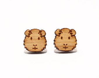 Guinea Pig Bamboo Stud Earrings, Hamster Earrings, Guinea Pig Earrings, Hamster Studs, Guinea Pig Jewellery, Cute Earrings, Wooden Earrings