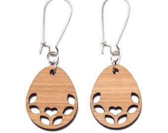Sweetheart Bamboo Dangle Earrings, Folk Earrings, Boho Earrings, Wooden Earrings, Bamboo Earrings, Titanium Dangles, Birthday Gift For Her