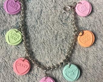 Love Heart Candy Charm Bracelet