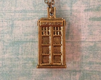 Tardis Gold Pendant Doctor Who Style