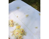 King Flat Sheet Yellow Roses with Yellow Scalloped Embroidery Trim- Percale, Vintage, Cottage, Cabin, Shabby, Retro