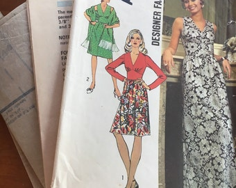 Vintage Simplicity 5350 1972 Misses' Dress in Two Lengths with Shawl Size 12 Designer Fashion Sewing Pattern- Retro, Ladies, Maxi, Prom