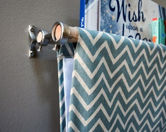 Blue and Taupe Zig Zag/Chevron Linen Fabric Book Sling - Book Holder, Book Case, Cotton Fabric