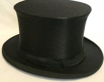 Antique-1880-1900-German-Black-Silk-Deutsche-Industries-Klapp-Hute-Collapsible-Folding-Top Hat-Original Box