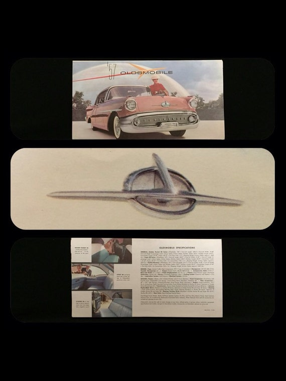 FREE SHIPPING-Authentic-Vintage-1957-Oldsmobile-GM-Starfire 98 Series-Fold Out Poster-Advertising-Brochure-Fantastic Colorful Retro Graphics