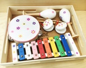 Personalised engraved music box with a xylophone maracas tambourine etc musical instruments childrens toy