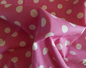 Pink with White Dots cotton fabric by the yard