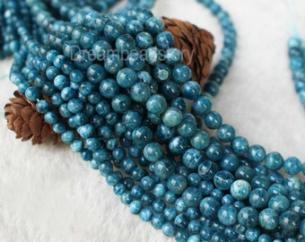 Natural Blue Apatite Beads, High Quality Smooth Round 4 6 8 10mm Loose Gemstone Beads Supplies (HX10)