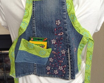 Flower Power Upcycled Child's Blue Jean Apron