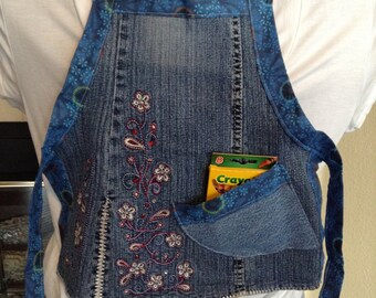 Child's Upcycled Blue Jean Apron