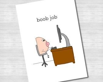 Boob Job - CARD pun funny cute cartoon boob job cosmetic boobjob office work
