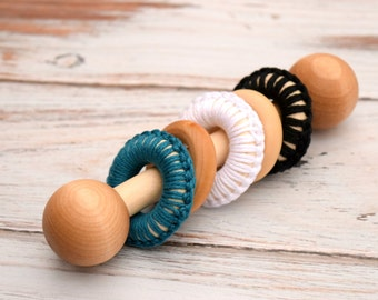Baby Toy, Wooden Baby Rattle, Baby Boy Gift, Crochet Rattle, New Baby Gift, Wooden Baby Toy, Unique Baby Gift, Montessori Baby, Teething Toy