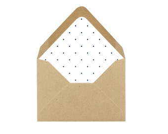 Printable Mini Navy Blue Polka Dot Envelope Liner/Patterned Backer 8.5 x 11 - INSTANT DOWNLOAD