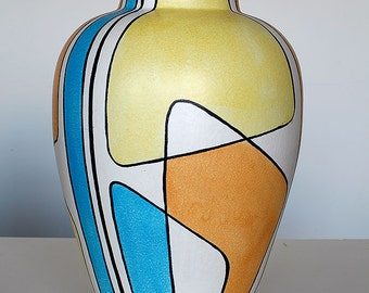 XL handpainted floor vase 403-40, decor 'Haiti', Bay, West German Pottery, 1958