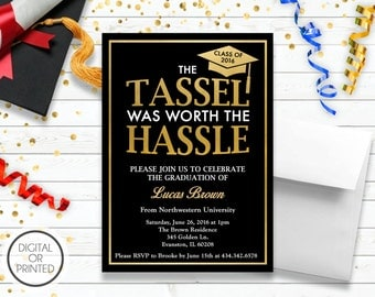 Graduation Invitation, Graduation Announcement, Black And Gold Graduation Invitation, Tassel was Worth the Hassle, High School, College