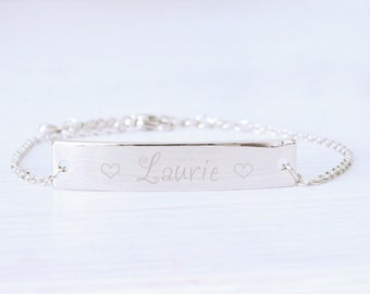 Personalized Silver Bracelet, Engraved Bar Name, Woman Bracelet, ID bracelet, Valentines day, Bridesmaids, Wedding, Birthday gifts for her