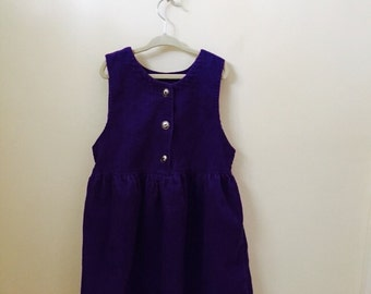Purple Corduroy Girls Jumper Size 10/12 in Great Vintage Condition and Perfect for Christmas Holiday