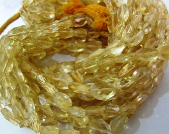Genuine Citrine Mani Shape Beads / Size 7x9mm to 9x12mm / Sold per Strand of 8 inch long / Oval Faceted Citrine Gemstone in Wholesale Rates