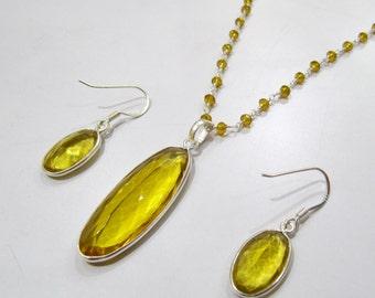 Sterling Silver Pendant Set with Lemon citrin quartz Beaded chain/ Pear Shape Stone / Size15x48mm including Bail /Hydro quartz Jewelry