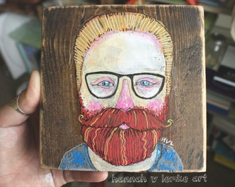 Custom Illustration Portrait // Wooden Block Art // Drawing Doodle Lowbrow Mixed Media Portrait
