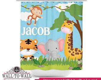 Kids Cute PERSONALIZED Shower Curtain Jungle Animals Theme Custom Bath Tub Shower Accessory Bathroom Room Decor Monkey Giraffe Elephant