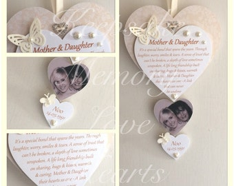 Personalised Mother & Daughter gift wooden keepsake heart