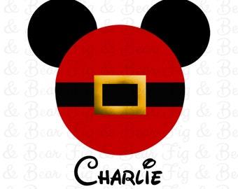 Men's Disney Christmas Mickey Mouse Santa T Shirts Iron On Transfers