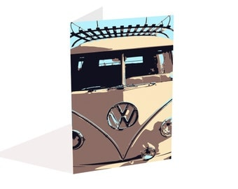 VW Blank Notecard, Camper Van Greeting Card, Blank inside, Art Card, Occasion Card, Invitation,  Birthday Card, Anniversary Card,