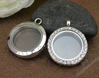 5pcs 30x30x7mm floating charms locket,White gold plated galss locket pendant,wish box,round glass locket with crystals