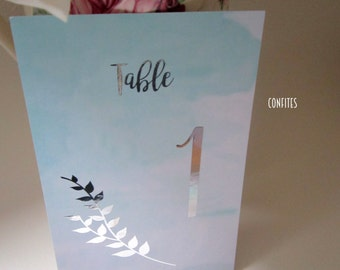 Wedding Table Number Cards - Acqua Watercolour and Silver print