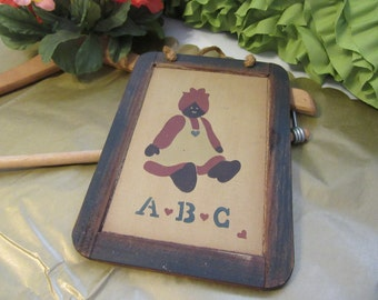 Vintage Black Americana ABC Hand Painted Chalkboard With Little Black Mammy