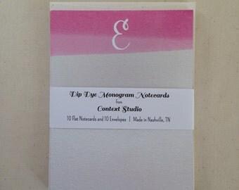 Monogram Notecard Set of 10 with Envelopes, E, Dip Dye