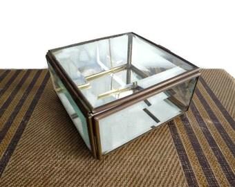 Vintage Glass Mirrored Box, Jewelry Box, Mirrored Jewelry Box, Mirrored Box, Glass Jewelry Box, Square Box, Brass Box