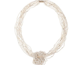 Multi-Strand Natural Freshwater Pearl Necklace w/18kt Gold Plated Beads & Clasps