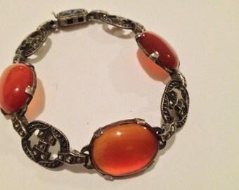 Art Deco Sterling Silver Marcasite & Carnelian Cabochon Bracelet