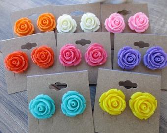 Resin Rose Earrings, 20 mm, Stud Earrings