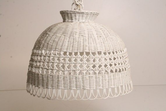 Vintage Wicker Hanging Light Pendant Lamp Swag Mid Century