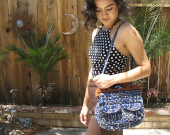 Navy Blue Paisley Handbag